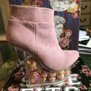 Pink Jeffrey Campbell Icy Doll Head Ankle Boots